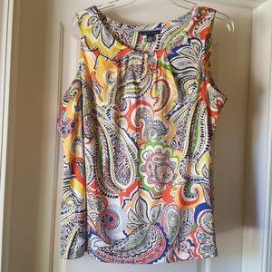sleeveless print blouse